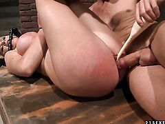 Blonde Natasha Brill gets her mouth fucked silly by fuck hungry guy