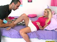 Amazing blonde teen Teagan Summers is getting naughty with some man indoors. She sucks his dick and lets him eat her pussy and then they bang in cowgirl and other positions.