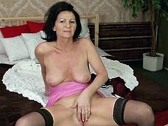 Beautiful granny finger fucks in sexy stockings