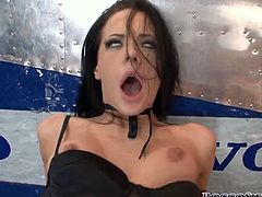Lean black haired bitch in lingerie is very happy to get assfucked by notorious porn mogul Rocco Siffredi. Rocco eats her asshole before banging it with his huge dick doggystyle.