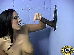 What a kinky and desirable brunette angel Mia East is! She gets that huge black cock and then she is going to swallow his cum!