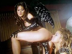 These horny lesbians are dressed in angel dresses with wings. They have hot lesbian threesome. These babes toy each others pussies and asses with glass dildos.