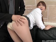What a shinning one Akane Yoshinag is! Her boss had an eye on her and today he will be taking her thongs off and fucking her hard!
