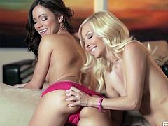 Gorgeous babes Aaliyah Love and her stunning partner Alyssa Branch are havin wild lesbian fun on the couch, switching turns and sucking their tight pussies!