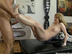 Light haired bitchy scarlet whore with sweet Tatas gets her thirsting kitty energetically hammered multiple ways. Her saggy twat will never forget that fuck. Watch this hot poking in Fame Digital porn video!