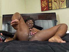 Have fun with this solo scene where the gorgeous Ana Foxxx penetrates her sweet black pussy with large dildos as you hear her moan.