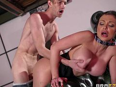 Aaletta Ocean is a dangerously sexy lovely brunette with round tits and massive fake tits. She shows off her perfect body as she sucks fat dick on her knees and gets her wet snatch drilled from behind.