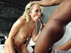 Small tittied blonde bitch Alana Evans sits on her knees greedily blowing huge black dick in a sloppy way. Cocky stud bends her over and drills her tight white pussy with his black python doggystyle.