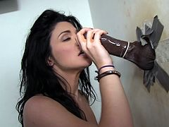 Get a hard dick watching this brunette, with natural boobs wearing high heels, while she goes hardcore with a huge dark meaty stick.
