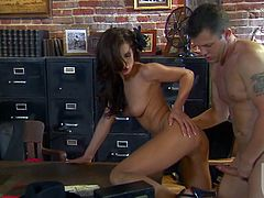 She shows up at this guy's office looking for help and he ends up bending her over his table and working that pussy hard.