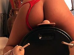 Jenaveve Jolie and her new toy in a staggering cock riding solo adventure
