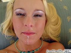 Get a hard dick watching this blonde babe, with huge love pillows wearing a bikini, while she goes hardcore covered in oil and moans like a slut!