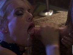 Sexy, wild Stormy Daniels keeps her heels on as she rides this guy then clamps her mouth onto his cock and sucks him dry.