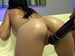 After one amazing masturbation scene, young babe receives a real cock