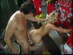 This sexy MILF took one look at the fireman and knew she wanted a piece of that. He ended up fucking her all over the fire engine.