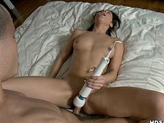 Wife woke up induced and asked her husband to satisfy her kinky need. He inserted vibrator in her cunt and then fucked her. Watch in WTF Pass sex video.