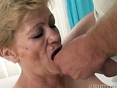 Light head old fat slut with dreadfully haired twat gave hardcore blowjob and received unforgettable doggy style anal fuck. Take a look at this amazing old asshole fuck in Fame Digital porn video!
