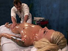 Check out this hardcore scene where the sexy blonde Emma Mae is fucked by her masseuse after he gives her an oil massage.