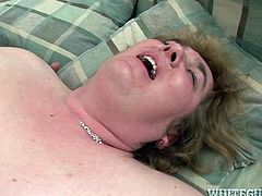 Light haired hefty figured old slut with saggy boobs got her smelly vag turbulently drilled from behind. Then she set on riding that dick greedily in cowgirl pose, but her sick old back let her down... Take a look at this old cock rider's failure in Fame Digital porn video!