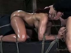 Kelly Divine tortured and gagged. She has never seen a vibrator like the Sybian. We strap her to the machine and she cums so hard that she starts to beg for mercy while sucking hard cock.