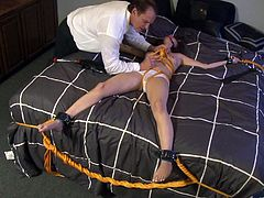 Get a load of this hot bondage scene where the sexy Allie Haze is tortured by a guy before she ends up riding his hard cock.