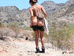 Hot slim chick Riley wearing shorts and blouse is getting naughty in the mountains. She strips and moves her legs wide apart and pleases herself with fingering.