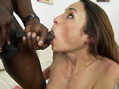 This gorgeous skinny hottie sucks on this black dude's hard cock and then takes it up her motherfuckin' asshole. Check it out!