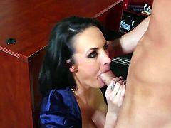 Alektra Blue is a kinky professor who rubs her pussy but she wanted something real in her pussy. Daniel Hunter happened to be there to clench her desires.
