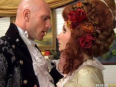 Her husband yelled at her for her artistic tastes! The Victorian babe Veruca needs a man to hear and understand her, and that man is Sins. He can help her with her passion and, unlike her husband, master Sins appreciates her female forms. She bends over with gratitude, gets her ass licked and then sucks his cock!