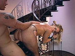 Hot blonde mistress dominates a guy  and ends up with cum all over her gorgeous face.