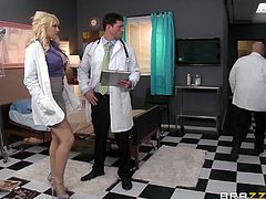The old doc is mad about this situation! He just found out that fucking cures all! He puts these two to fuck, in the name of science of course! The blonde babe and the doc get started and they perform a very rigorous scientific experiment as spreads her legs and he eats her pussy. Wanna join this medical experiment?
