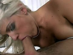 Adorable blonde stunner Blanche Bradburry with plug in big round ass and big natural juicy rack gets pierced pussy licked and boned deep by handsome James Brossman in hotel room.