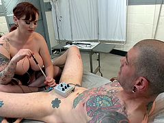 When it's about Mz Berlin you can expect only the kinkiest and fucked up treatments! The experienced German milf has her ways and this time we can see her dealing with this guy's cock. She slowly inserts a wand in her penis and then gives it a few electrical shocks. Yeah, she knows what she's doing!