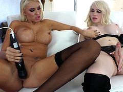 This sexy lady and her cute shemale girlfriend are having a race to see who can cum first. The shemale strokes her cock and the chick pleasures herself with a vibrator. Then the sexy woman puts on a strap on dildo and rams the ass of Sarina, the beautiful, transsexual goddess. Watch this naturally born woman and this transgender woman fuck each other like crazy.