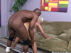 Bridgette B shows her amazing body. This blondie has big ass and huge boobs. She is dream girl. Some Black guy eats her soaking pussy in a flexible position.