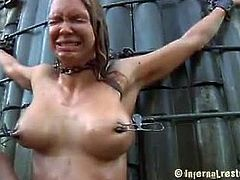 Rain DeGrey has her throat fucked while she's naked outdoors and filled with mud. Next, she gets washed with cold water and painful water jet and fucked again in cunt and mouth.