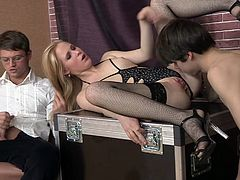 Although she got him naked and tied, Trisha has other plans with this cheap sex slave. Instead of punishing him, she puts the guy to eat and fuck her pussy. Then Trisha grabs the other guy's hard cock and puts it in her mouth while the naked boy fucks her bald pussy. Will other join in and satisfy her?