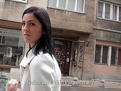 We went on the streets of Hungary to pick up pretty girls, such as this one! Meg is a cutie so our guy started to talk with her. After an convincing chat and, of course, some cash, the brunette teen showed us her tits and how she sucks cock. Seems that Hungarian teen deserves a tip on her face!