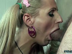 When this dude saw our cute pony tails shemale Juliette, he licked his lips with desire. Slim and cute Juliette is a hottie and all she needs more is a big, thick cock between her pink lips. She receives one as she kneels and opens wide for the dude's cock. He's a lucky guy to fuck her and maybe jizz on her face!