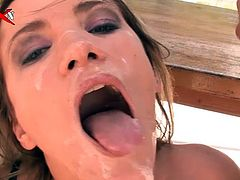 A nasty fuckin' whore gets her cunt and ass fucked hard by a couple of horny studs in this kick-ass double penetration scene right here!