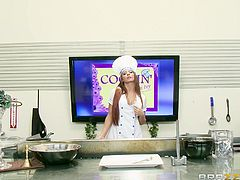 This chick is every man's dream wife. She's an amazing cook and a celebrity chef. She's also really good at sucking cock. She cooks up a tasty sirloin and feeds it to her producer. She's hungry too so she wants to suck on his cock and eat his cum!