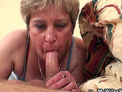 While I was in the bed, taking a deep, relaxing nap, lady Dagmar sucked my cock. She slowly pulled down my boxers, grabbed my dick and jerked it. After my cock went rock solid, mature opened her mouth and lustfully sucked me. Look at her swallowing my penis like a whore, working hard for my cum!