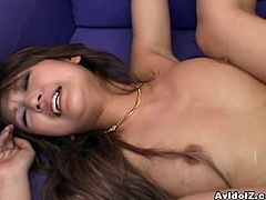AvIdolz presents you a steamy sex video starring Aya Fukunaga. She poses on cam flashing her boobs. Then she gets her privates sucked by a horny Jap stud, then he fucks her hard.