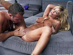 Tasha Reign is his sexy blond-haired neighbour with big tits and always wet pussy. She shows her jugs to Chad White and sucks his rod before she takes off her panties to be fucked in her needy wet pussy.