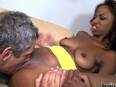 Young and filthy black brunette slut sucks the dick and gets her tight pussy licked and drilled. Watch in Fame Digital sex video.