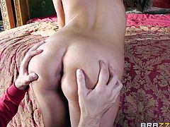 Lee likes blondes but he likes brunettes too! He got lucky with this one and fucked her mouth before drilling her pussy. As the brunette cutie stayed with her legs up and with her pussy stuffed with his cock, Lee's gf entered. She was angry at first but then she saw the potential of this situation. Will she join in?