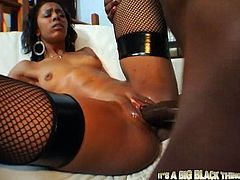 Extremely sexy horny bitch spreads her legs for hard fuck black guy with big cock on the soft sofa. Have a look in My XXX Pass sex clip.
