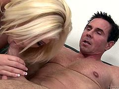 Hot and naughty blond haired slut in sexy black stockings gets her shaved cooch banged doggy style and in missionary position.