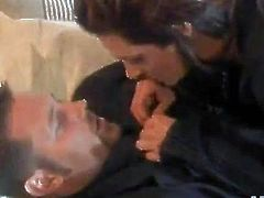 What a hot story this is! Sexy Nicole Sheridan catches some seduction in his words and then she gets on top of him on the couch!