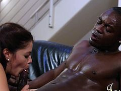 She's such a hard working girl. Ava wakes up in the morning and goes in the kitchen where she prepares a cherry pie for her black man. He steps in and wants a cherry, hers! The white brunette greets him with a slutty head and makes the guy's day brighter. They the head to the living room where she rides his dick deep